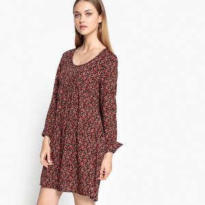 Платье расклешенное с цветочным рисунком SUD EXPRESS. Цвет: рисунок цветочный/фон черный