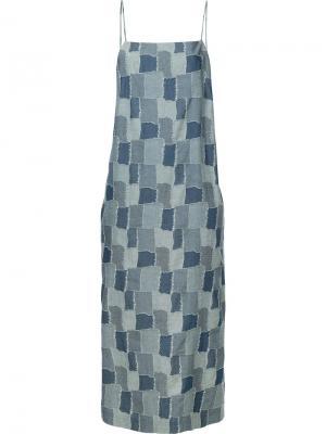 Платье дизайна пэчворк Castaway Vale. Цвет: синий