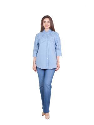 Блузка LAFEI-NIER. Цвет: голубой