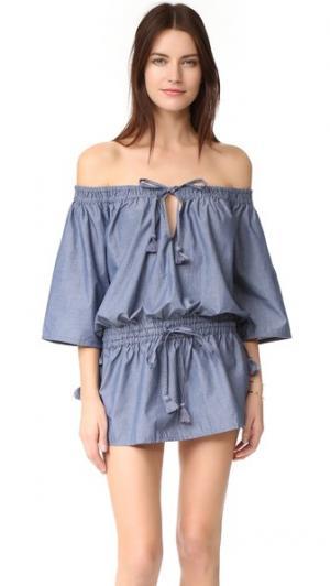 Платье Sonne Thayer. Цвет: темная ткань шамбре