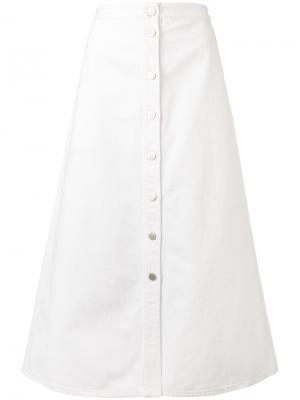 Джинсовая юбка А-образного силуэта Mih Jeans. Цвет: белый