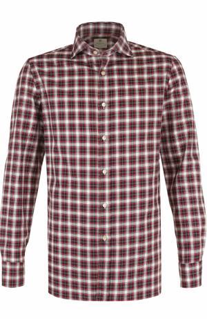 Хлопковая рубашка в клетку Luigi Borrelli. Цвет: красный