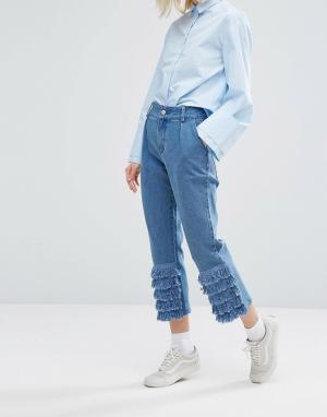 I Love Friday Джинсы в винтажном стиле с отделкой рюшами. Цвет: синий