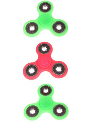 Спиннер с черными вставками однотонный, 2 зеленых + розовый Радужки. Цвет: зеленый, розовый