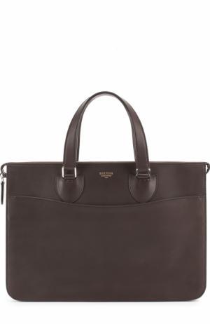 Кожаный портфель на молнии Bertoni. Цвет: темно-коричневый