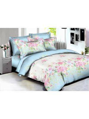 Комплект постельного белья Buenas noches Madrid из люкс сатина 2-спальный. Цвет: голубой, молочный, розовый