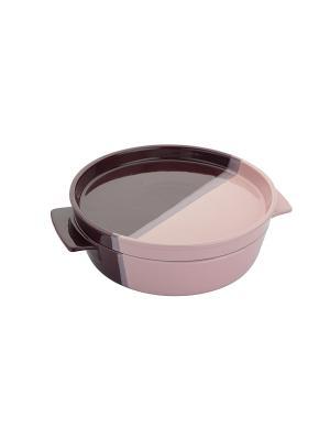 Керамическая кастрюля круглая 1,5 Л Augustin Welz. Цвет: фиолетовый, розовый