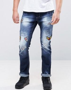 Juice Рваные узкие джинсы с заплатками. Цвет: синий