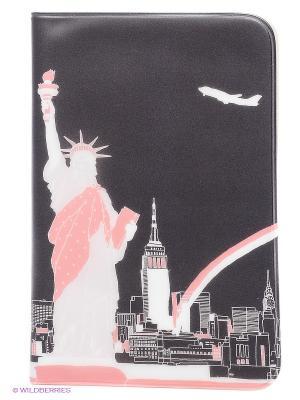 Обложка для паспорта New York, серия Merci Lavi Kawaii Factory. Цвет: черный, розовый