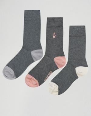Green Treat 3 пары носков в горошек. Цвет: серый