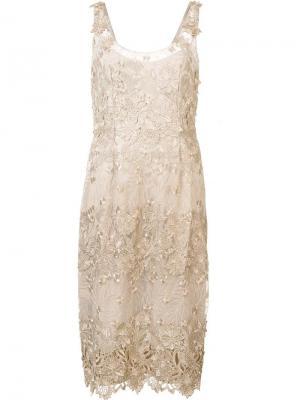 Платье миди с цветочной аппликацией Marchesa Notte. Цвет: телесный