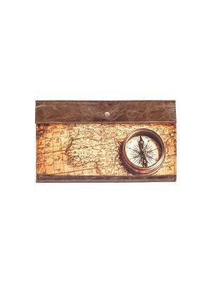 Конверт для путешествий Компас Eshemoda. Цвет: коричневый