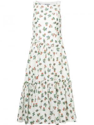 Платье с цветочным принтом Molly Goddard. Цвет: белый