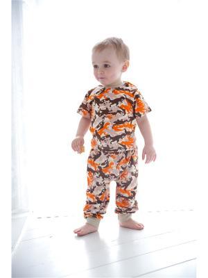 Брюки Веселый малыш. Цвет: бежевый, коричневый, оранжевый