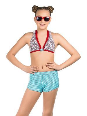 Купальник для девочек (бюст, плавки, шорты) Arina. Цвет: белый