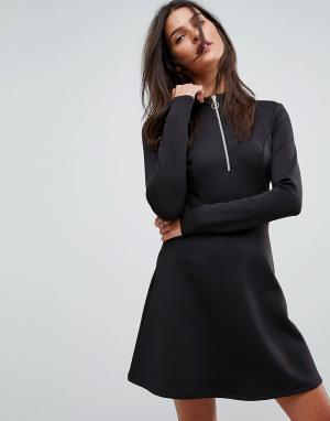ASOS Спортивное платье на молнии. Цвет: черный