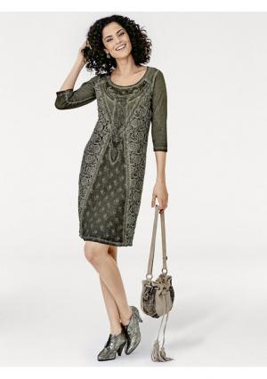 Кружевное платье Linea Tesini. Цвет: хаки