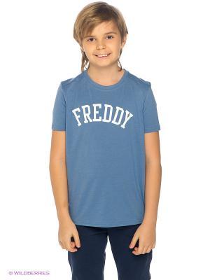 Футболка Freddy. Цвет: серо-голубой