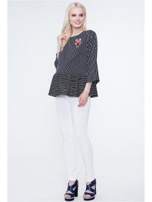 Блузка TUTTA MAMA. Цвет: черный, белый