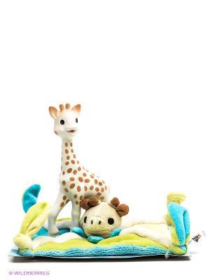 Набор Жирафик Софи с салфеткой Sophie la girafe. Цвет: зеленый, голубой