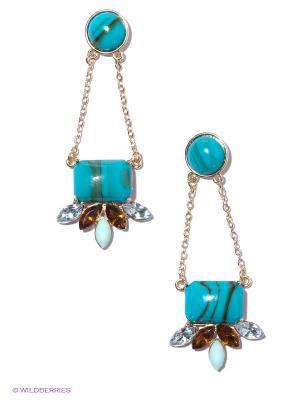 Серьги Taya. Цвет: голубой, золотистый, коричневый