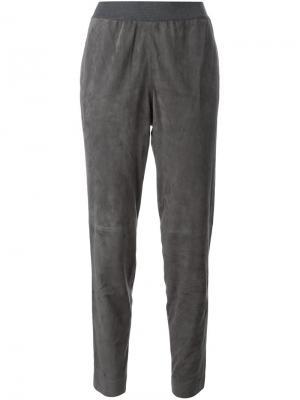 Замшевые брюки Fabiana Filippi. Цвет: серый