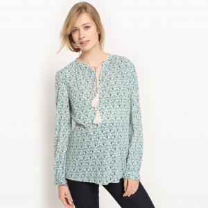 Блузка из вискозы для периода беременности R essentiel. Цвет: рисунок/зеленый