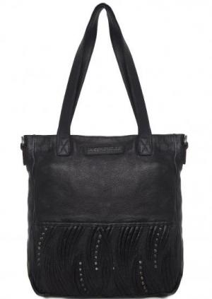 Кожаная сумка с металлическим декором Taschendieb. Цвет: черный