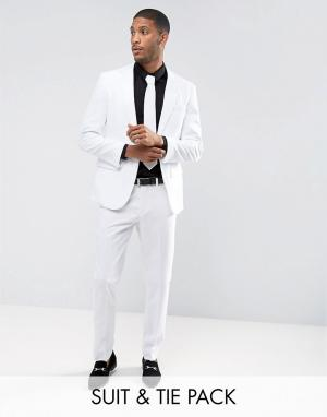 Oppo Suits Белый облегающий костюм и галстук OppoSuits PROM. Цвет: белый