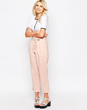 The WhitePepper Льняные брюки. Цвет: розовый
