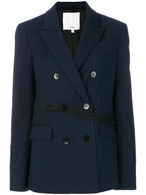 Полосатый пиджак с лентой-поясом Tibi. Цвет: синий