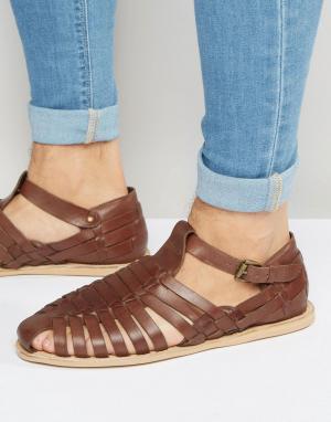 Dune Коричневые кожаные сандалии. Цвет: коричневый