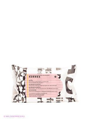 Салфетки для снятия макияжа с гранатом Korres. Цвет: кремовый