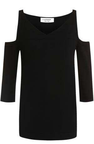 Топ с открытыми плечами и укороченным рукавом D.Exterior. Цвет: черный