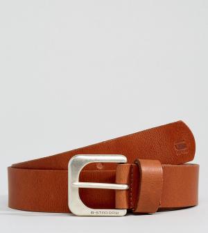 G-Star Светло-коричневый кожаный ремень. Цвет: рыжий