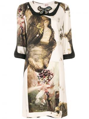 Платье с принтом бабочек Antonio Marras. Цвет: телесный