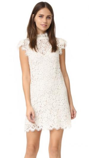 Кружевное платье с высоким вырезом Rachel Zoe. Цвет: золотой