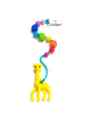 Жирафик жёлтый на клипсе-держателе iSюминка. Цвет: синий, желтый, красный