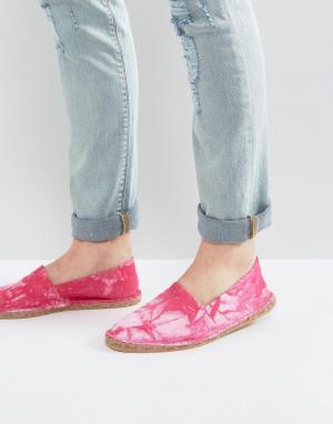 ASOS Розовые парусиновые эспадрильи с принтом тай-дай. Цвет: розовый