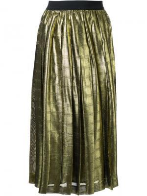 Плиссированная юбка с отделкой металлик Muveil. Цвет: металлический