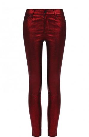 Укороченные кожаные брюки-скинни RTA. Цвет: красный