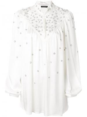 Блузка с украшением из жемчуга и кристаллов Wandering. Цвет: белый