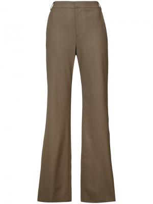 Pearl-look button trousers Adeam. Цвет: зелёный