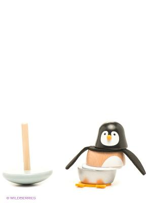 Игрушка-пирамидка Пингвинчик Janod. Цвет: черный, бежевый