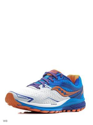 Кроссовки Saucony. Цвет: белый, оранжевый, синий