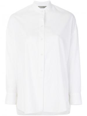 Рубашка с воротником-мандарин Vince. Цвет: белый