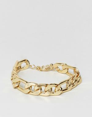 ASOS Массивный золотистый браслет-цепочка. Цвет: золотой