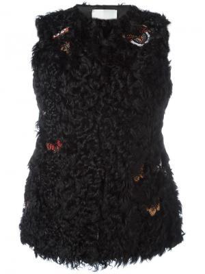 Меховая жилетка с вышивкой Valentino. Цвет: чёрный