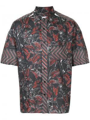 Dry leaf printed shirt Yoshiokubo. Цвет: чёрный