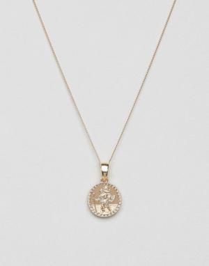 Chained & Able Золотистое ожерелье с небольшим медальоном. Цвет: золотой